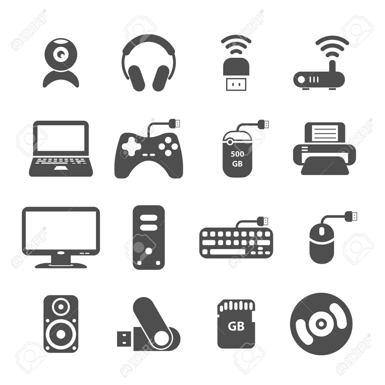 Computer Und Zubehör Icon-Set, Ist Jedes Symbol Ein Einzelnes Objekt ...