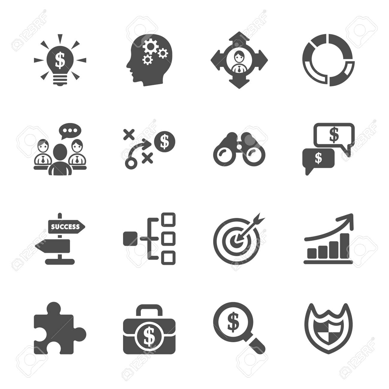 business strategy icon set - 36112043