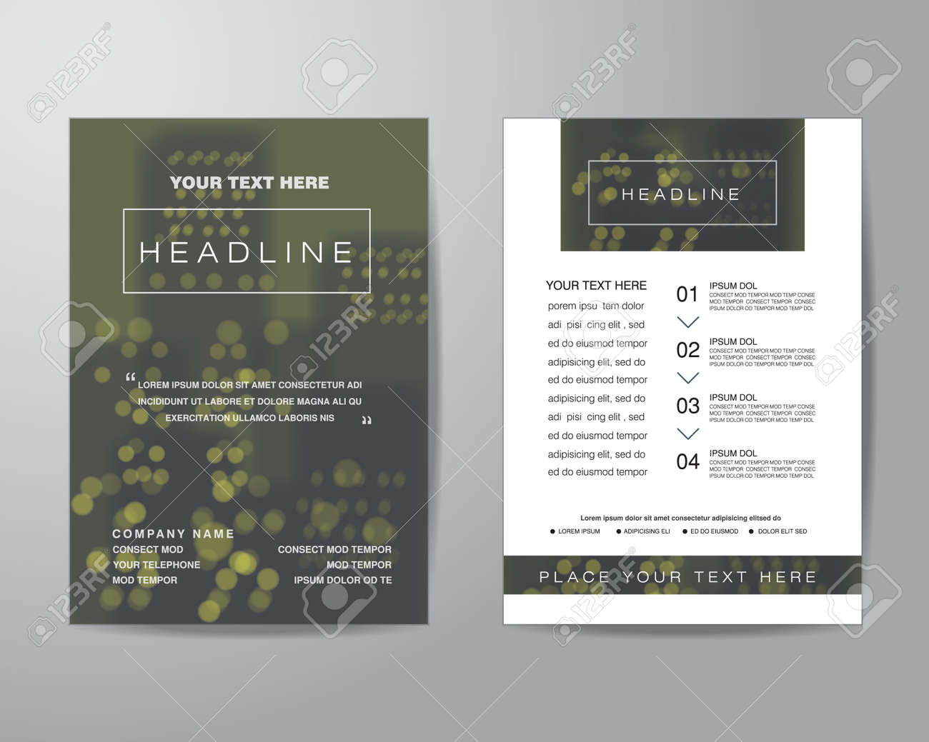 simple blur background brochure flyer design layout template in a4 size with bleed vector