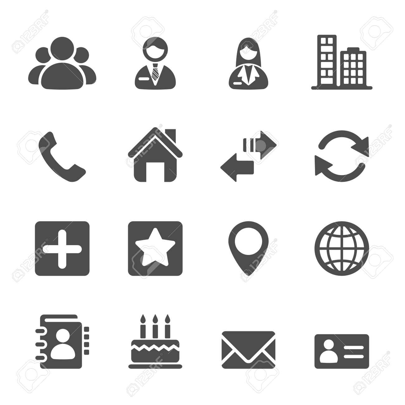 contact icon set, vector eps10. - 42760937