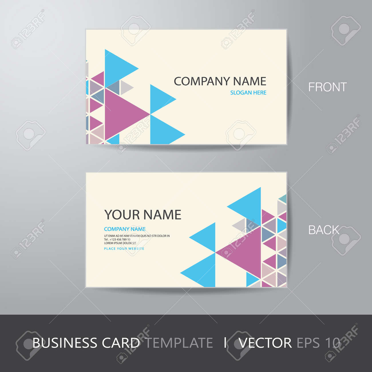 Business card triangle abstract background design layout template business card triangle abstract background design layout template with bleed vector eps10 stock reheart Image collections