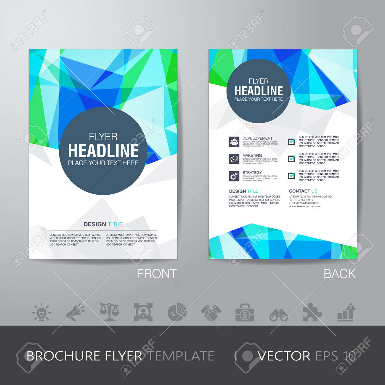 Polygon Brochure Flyer Design Layout Template In A4 Size, With ...