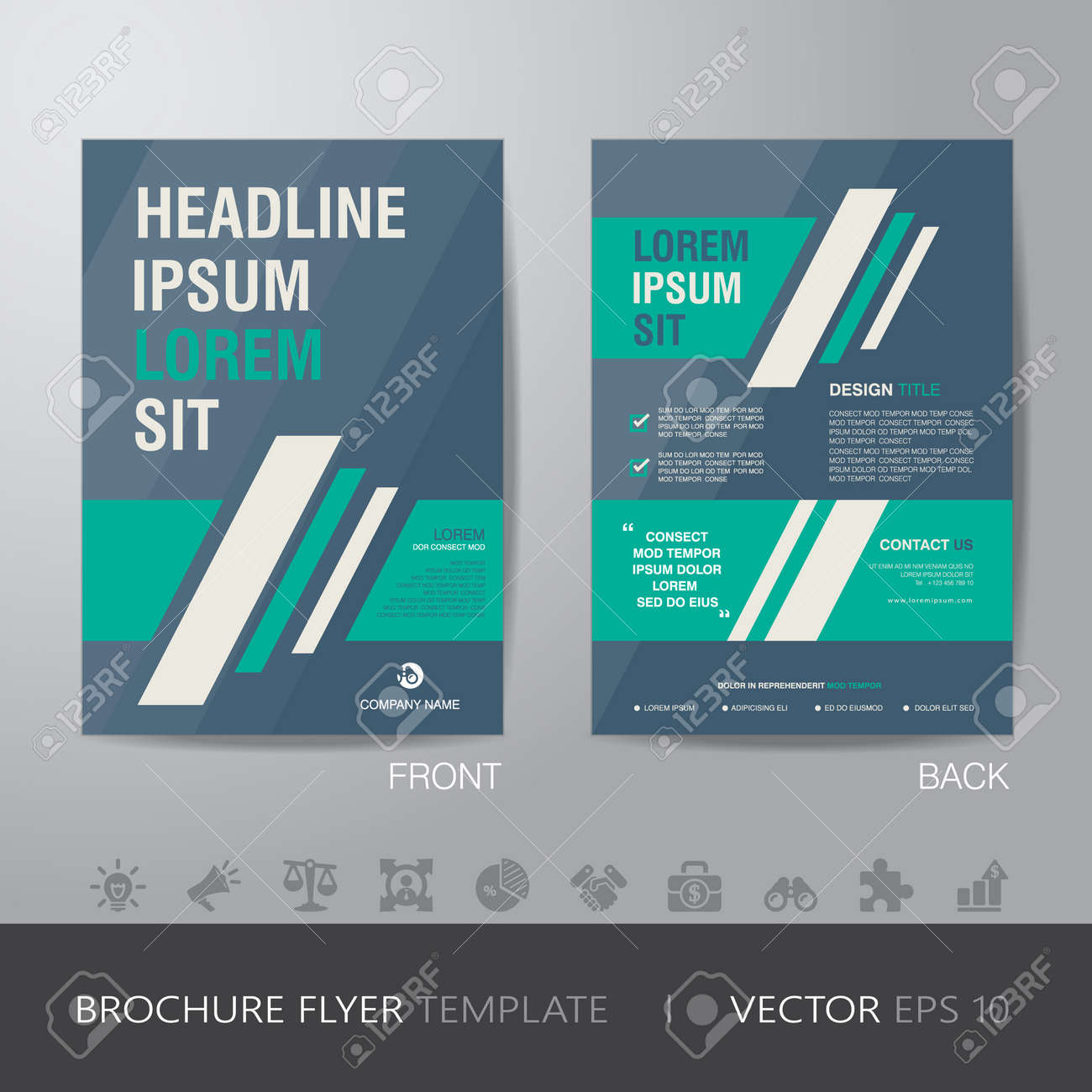 simple business green and blue brochure flyer design layout template in a4 size with bleed