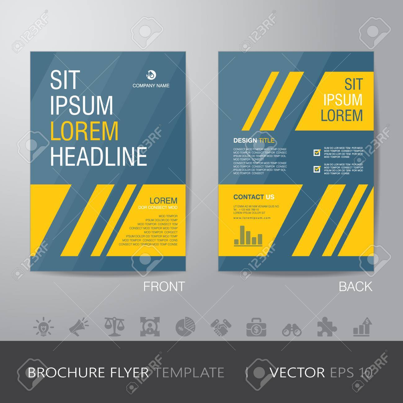 simple business yellow and blue brochure flyer design layout template in a4 size with bleed