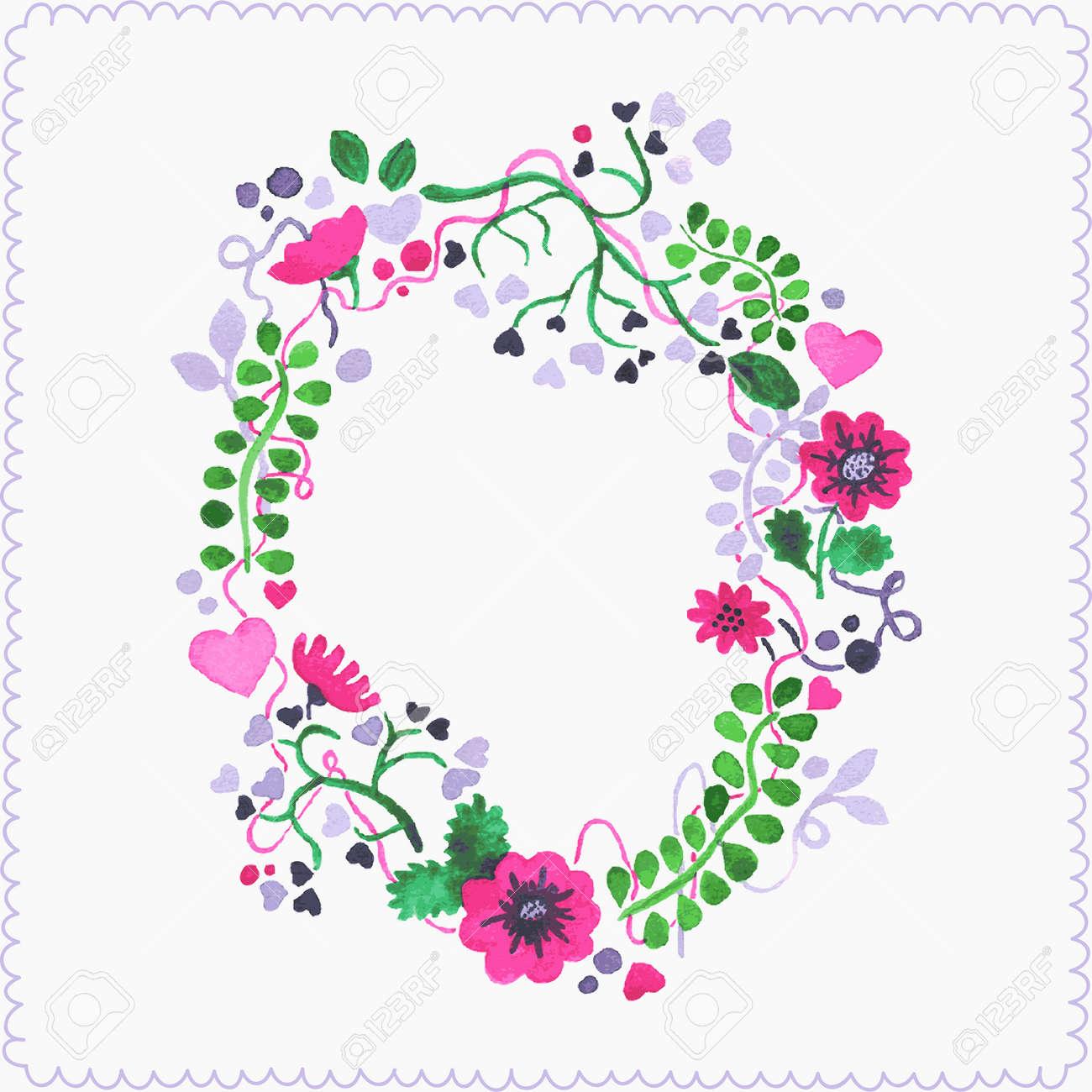 hand drawn couronne de fleurs dessin rel de laquarelle vector illustration