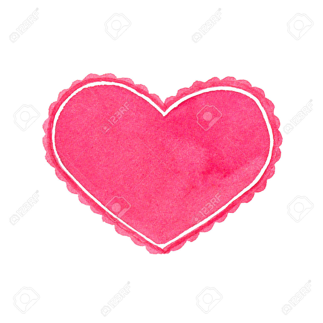 Watercolor Heart Frame On The White Background Royalty Free Cliparts ...