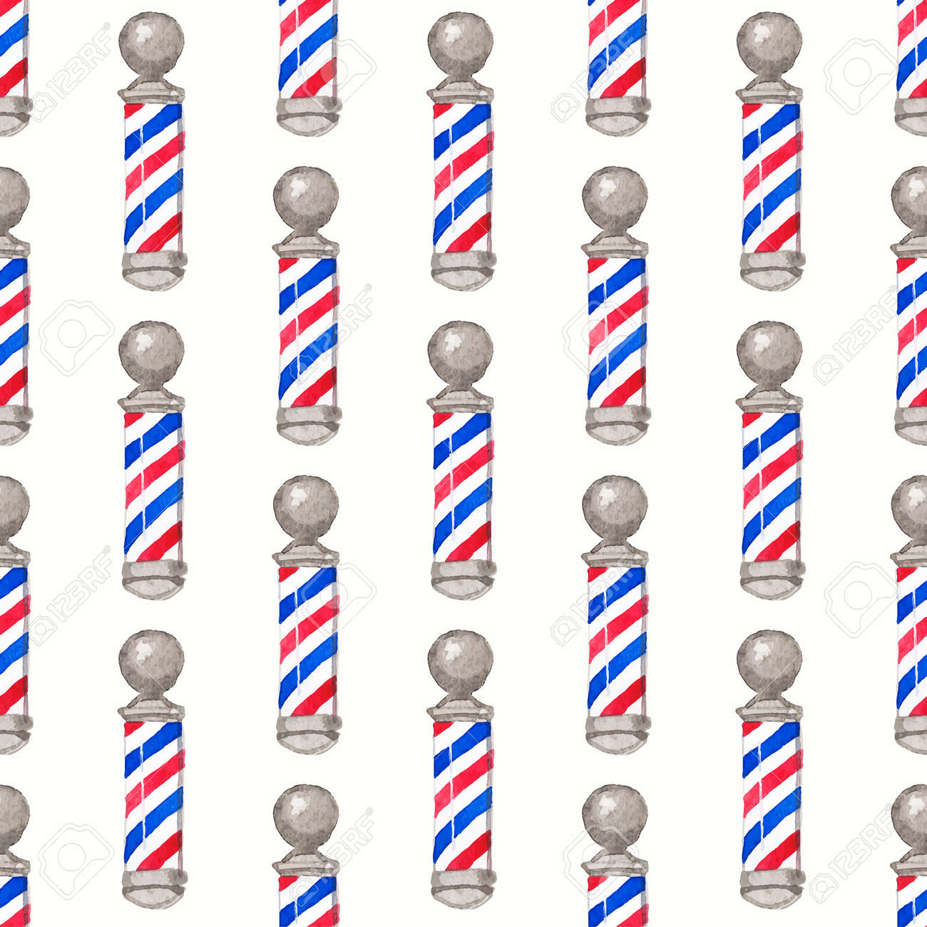 Barber Pole Seamless Watercolor Pattern With Poles On The White Background Aquarelle