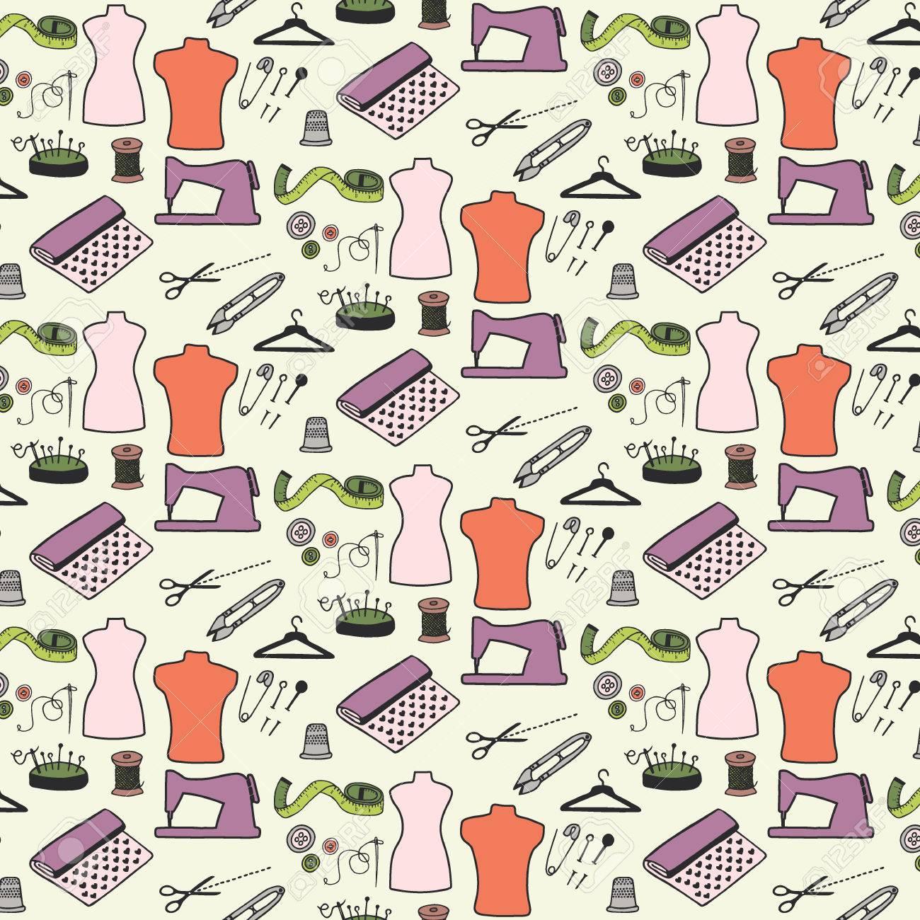 Nähen. Nahtlose Muster Mit Handgezeichneten Cartoon Nähwerkzeugen ...