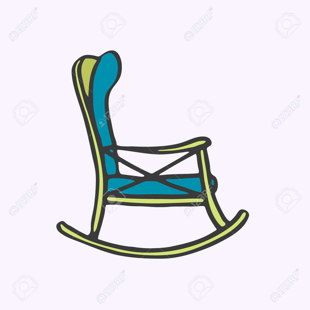 Fabulous Rocker Chair Hand Drawn Cartoon Chair For Rest Doodle Drawing Machost Co Dining Chair Design Ideas Machostcouk