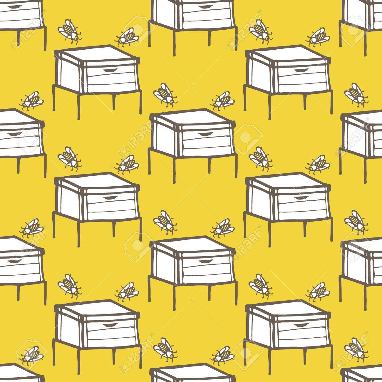 colmena y la abeja dibujado a mano sin fisuras patrn de dibujos animados con las