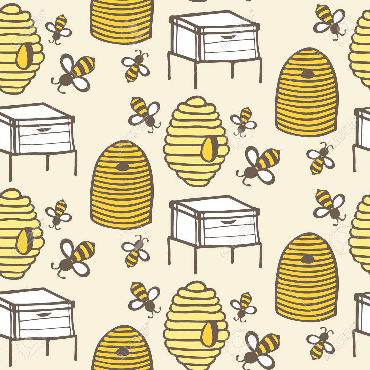 Colmena Y La Abeja. Dibujado A Mano Sin Fisuras Patrón De Dibujos ...