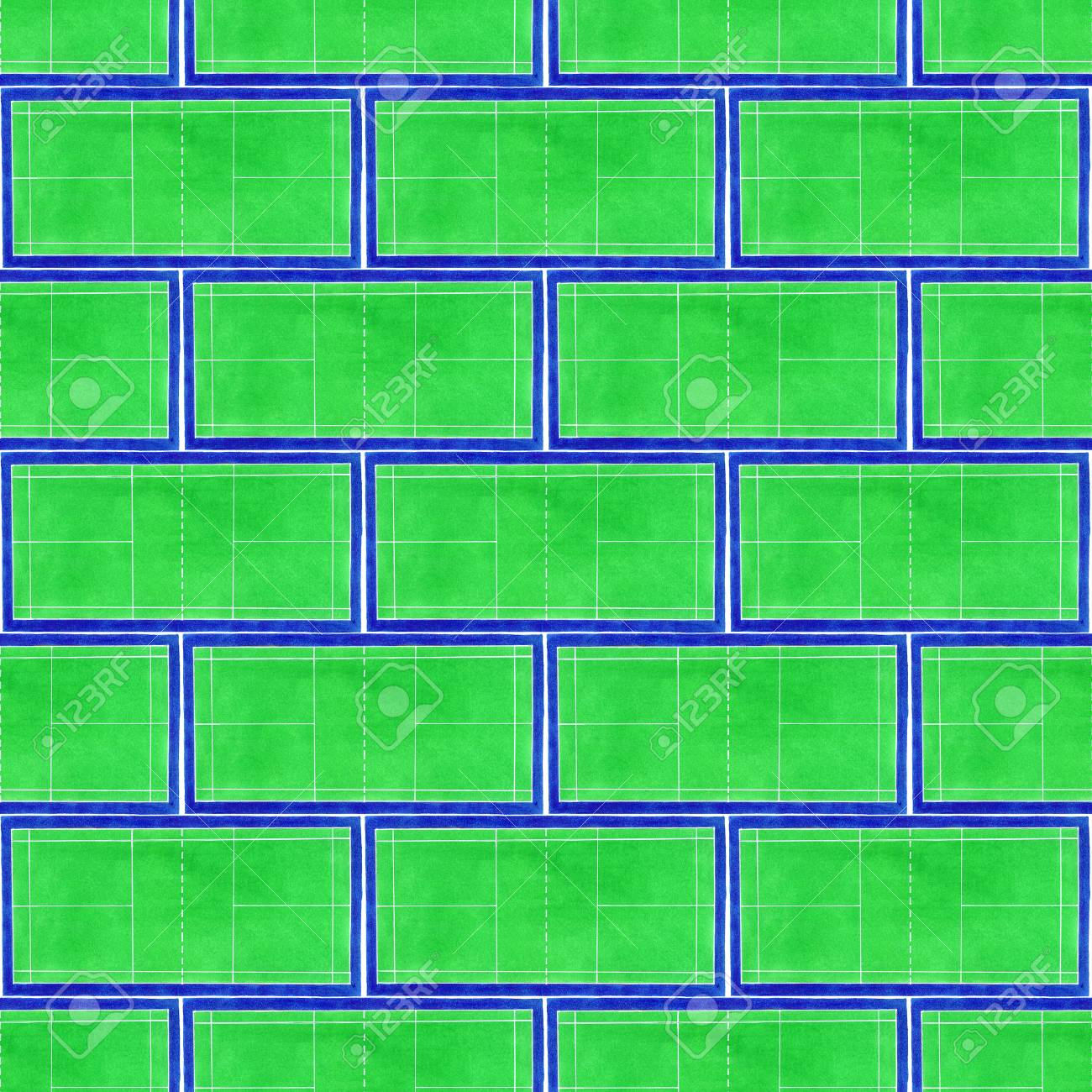 Badminton court  Seamless pattern with hand-drawn green tennis
