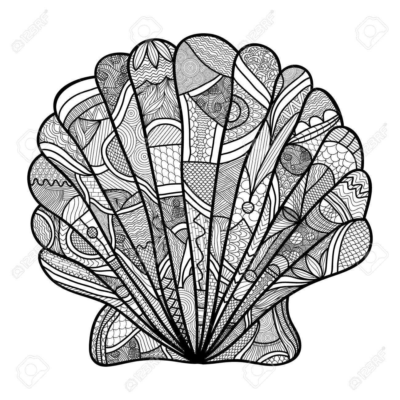 Muschel. Hand Gezeichnet Shell - Anti-Stress-Malvorlagen Für ...