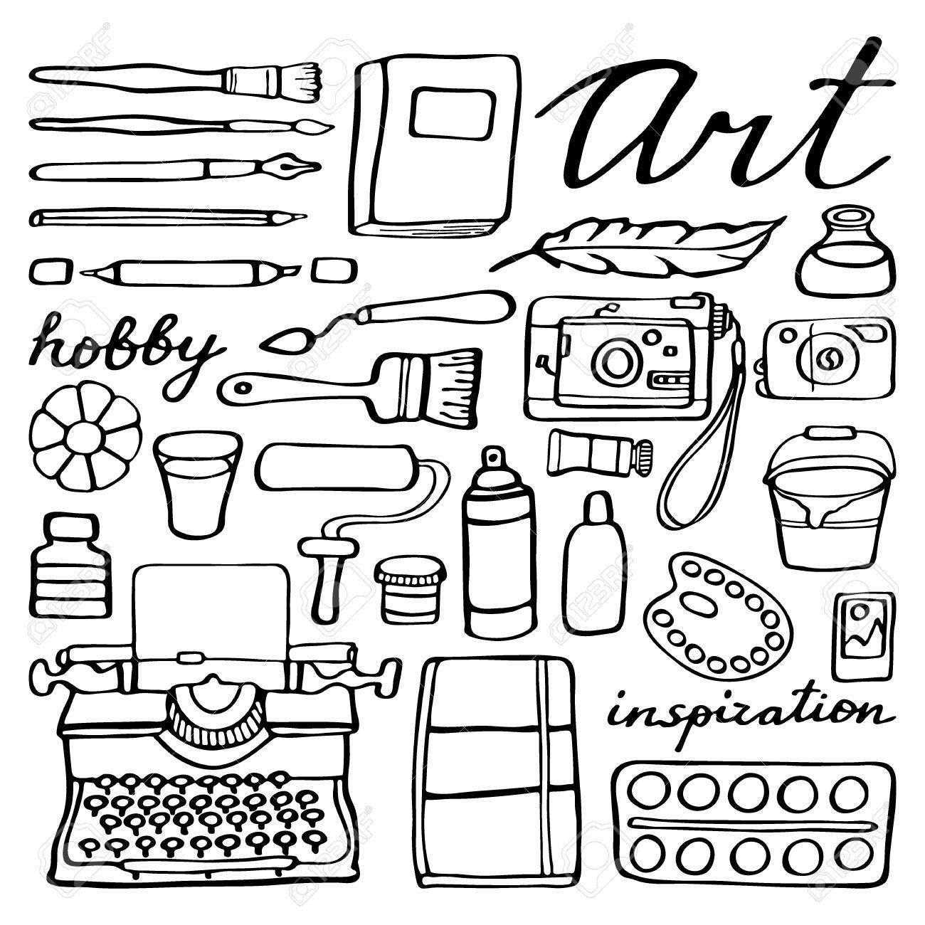 Art Supplies Set. Hand-drawn Cartoon Collection Of Art Tools ...