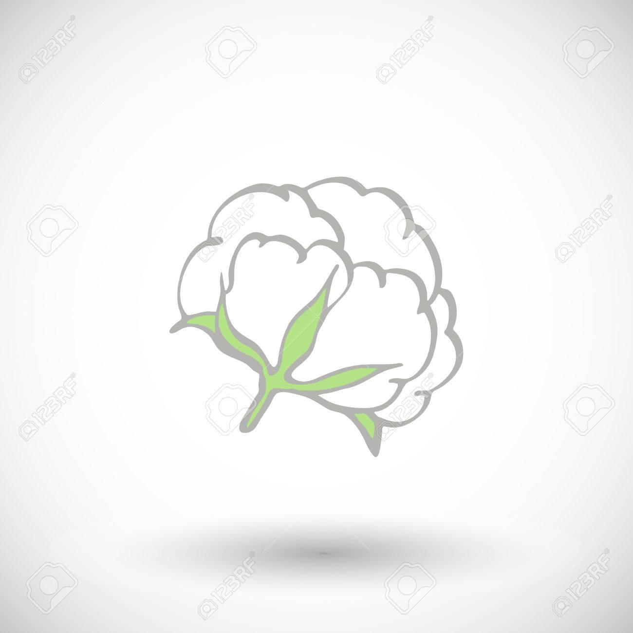 Fleur De Coton Hand Drawn Icone De Coton Biologique Dessin Doodle