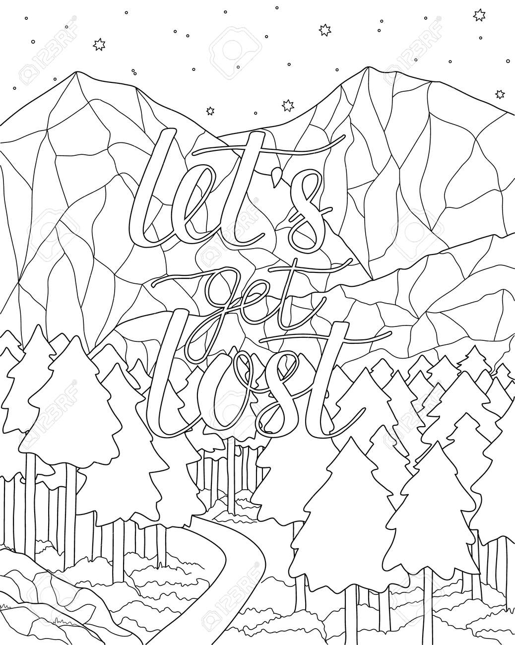 mountain scenery antistress coloring page with adventure