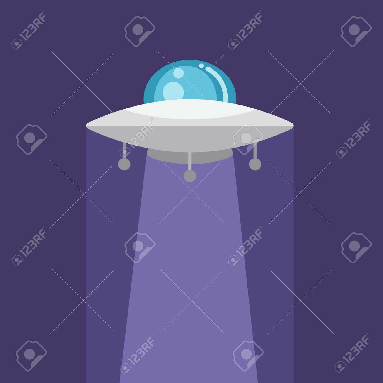 Ufo Icon Flat Design Of Shiny Alien Spaceship With Light On