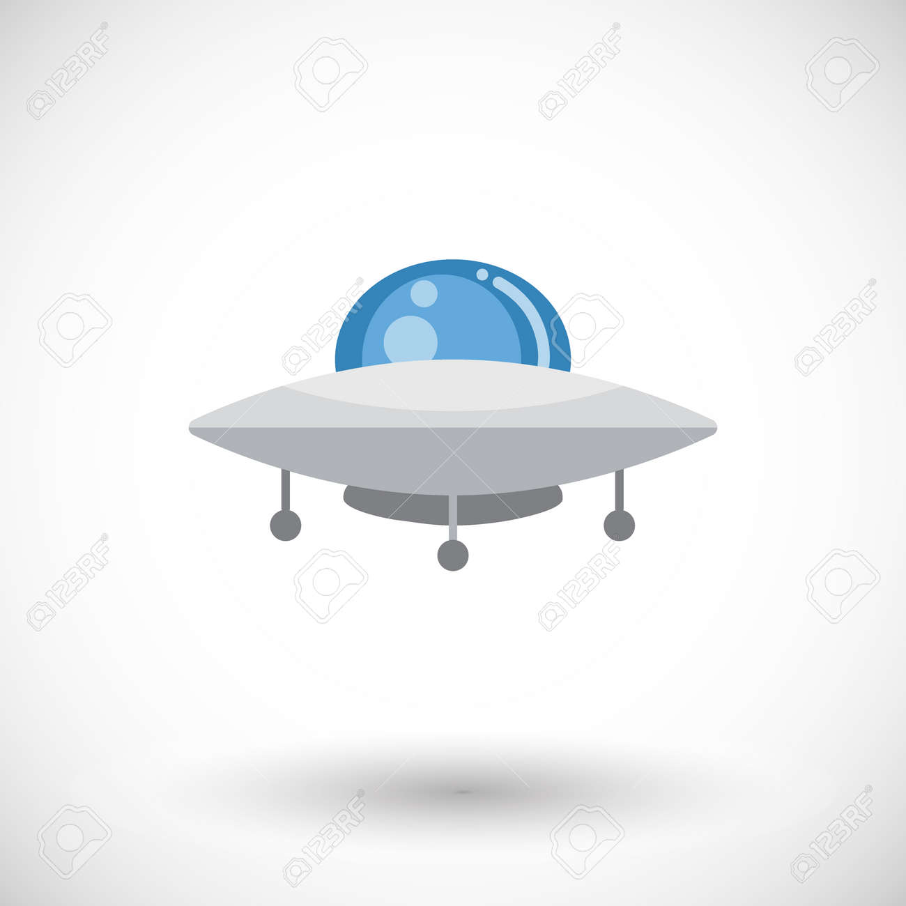 Ufo Icon Flat Design Of Shiny Alien Spaceship With Round Shadow