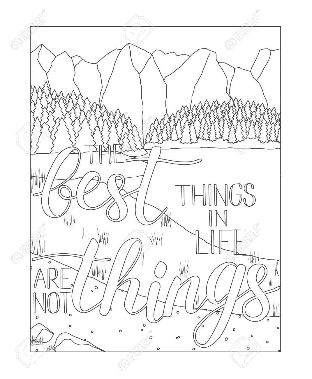 Página Del Libro Para Colorear Con Paisajes De Montaña Y Lago Dibujo Antistress Adulto Con Cita Aventura Las Mejores Cosas De La Vida No Son Cosas