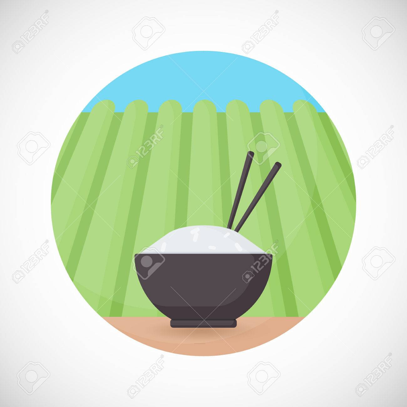 Bowl of rice with chopsticks vector flat icon Flat design of cooking utensil tableware & Bowl Of Rice With Chopsticks Vector Flat Icon Flat Design Of ...