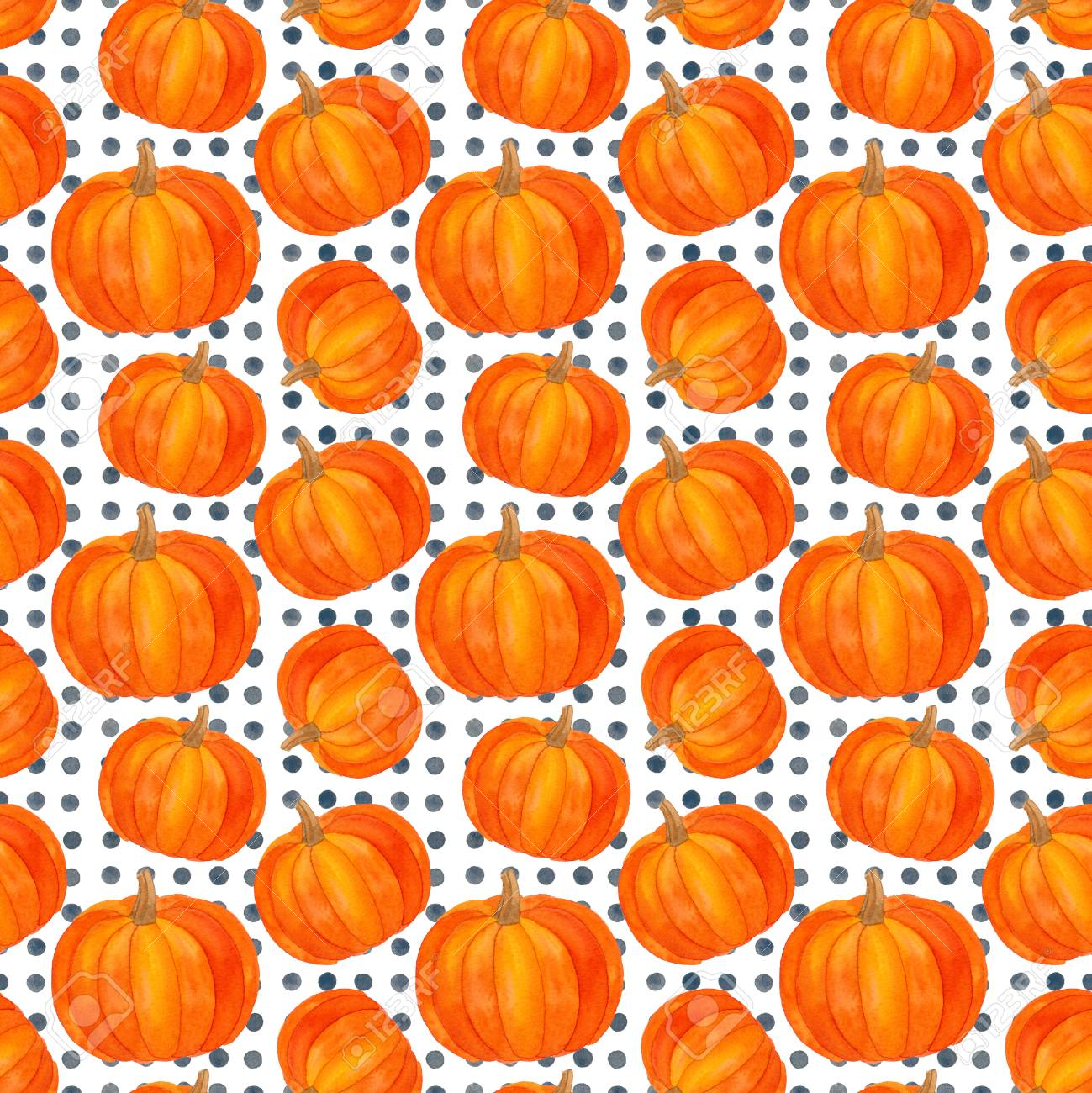 Autumn Pumpkin Seamless Pattern Fall Harvest Watercolor Thanksgiving
