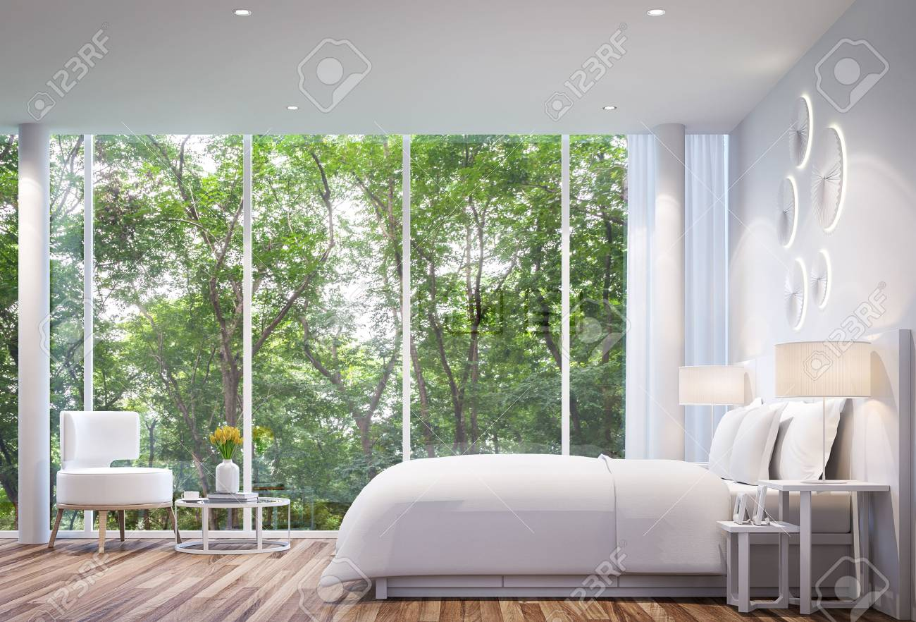 White Bedroom modern minimalist style white bed with large windows. Looking to experience nature up close. - 65870918