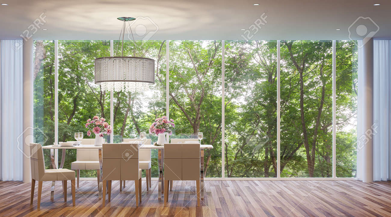 Modern-style dining room, surrounded by nature. Large windows Looking to experience nature up close. - 65870919