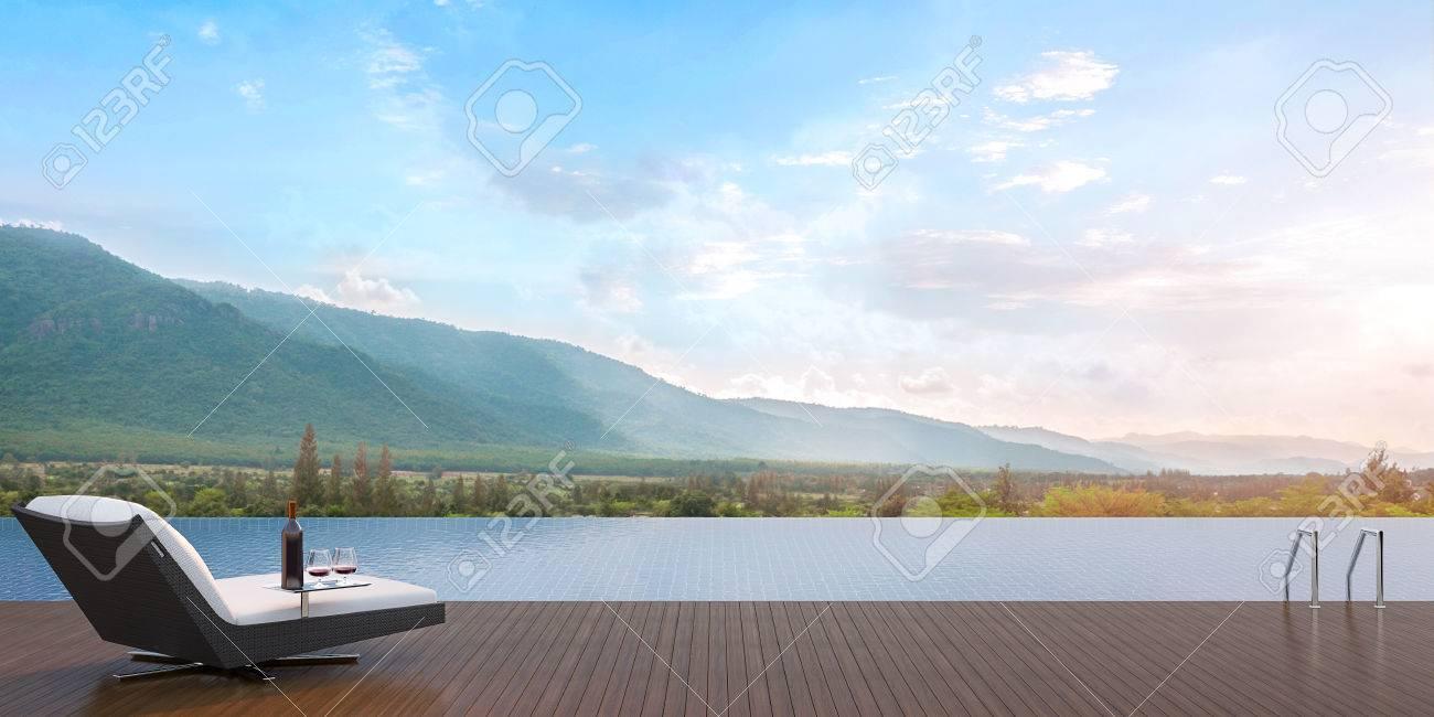 Terrasse Piscine Donnant Sur Les Montagnes Environnantes Formé D Un Lit De Repos Avec Une Dégustation De Vin