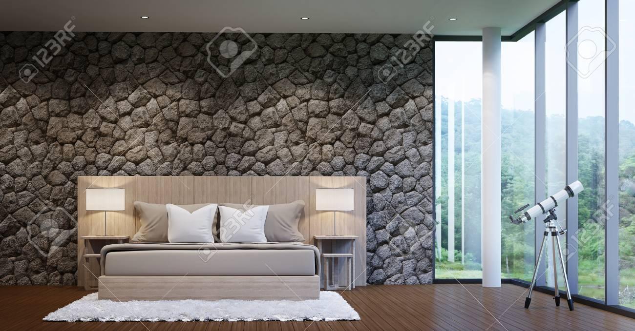 Moderne Luxus Schlafzimmer Schmücken Wände Mit Naturstein Raue Haut  Standard Bild   65870941