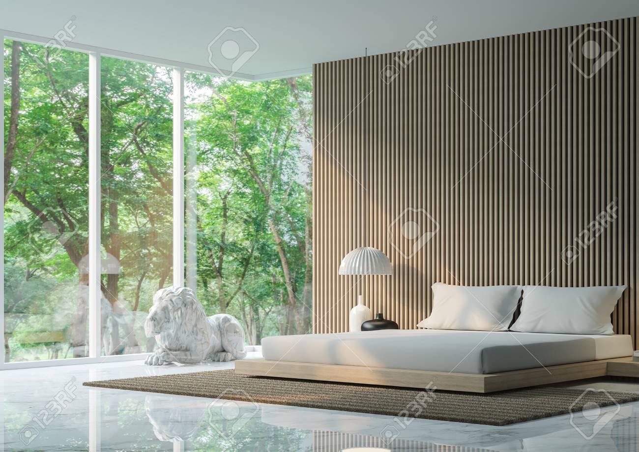 Moderne Ruhige Schlafzimmer Im Wald / Modern Ruhigen Schlafzimmer  Minimalistischen Stil Marmor Weiß Boden Schmücken Wand Mit Holzgitter,  Basic Einfache Hell ...