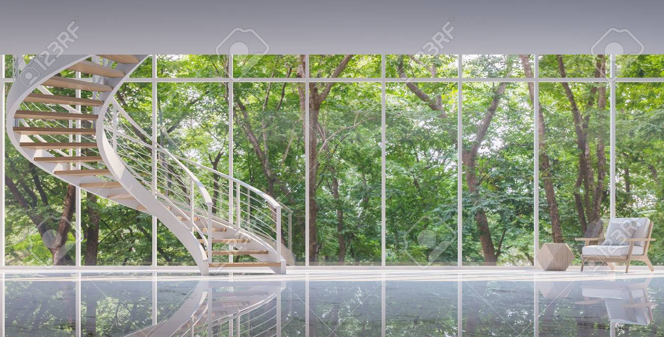 Spiral stair in the glass house 3D rendering image.Surrounded by nature. Large windows Looking to experience nature up close. - 68386015