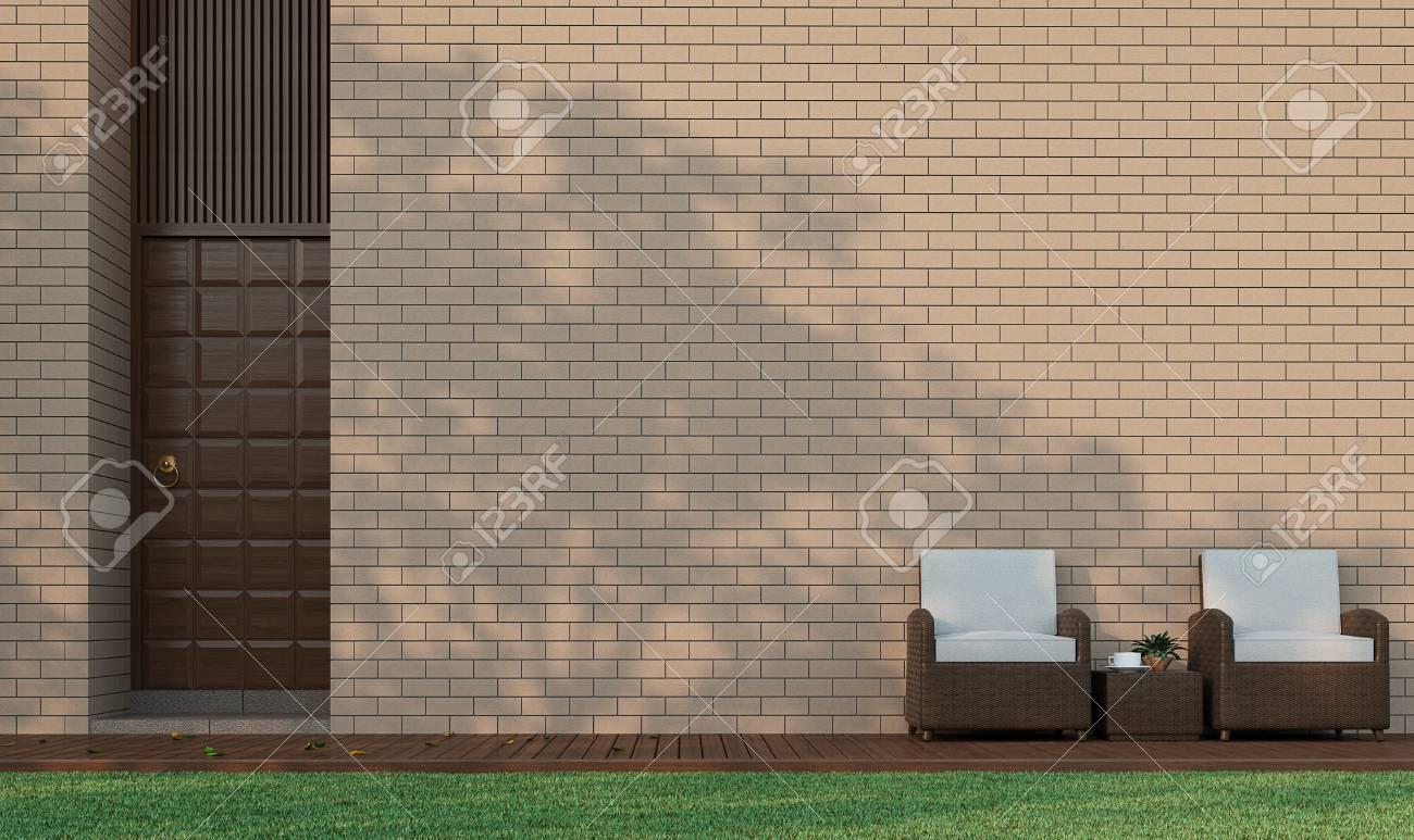 Edificio Moderno Terraza En El Jardín Decorar La Pared Con Ladrillo Imagen De Representación 3d Hay Un Piso De Madera De La Pared De Ladrillo