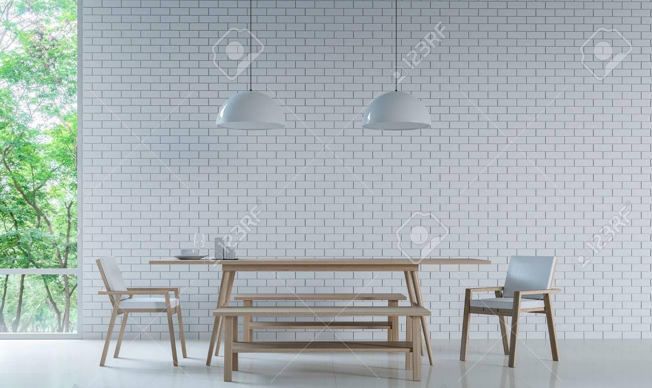 Moderne Weiße Esszimmer Dekorieren Wand Mit Weißen Ziegelstein  3D Rendering Bild. Minimalistischen Stil Weißen Boden Schmücken Wand Mit  Weißen ...