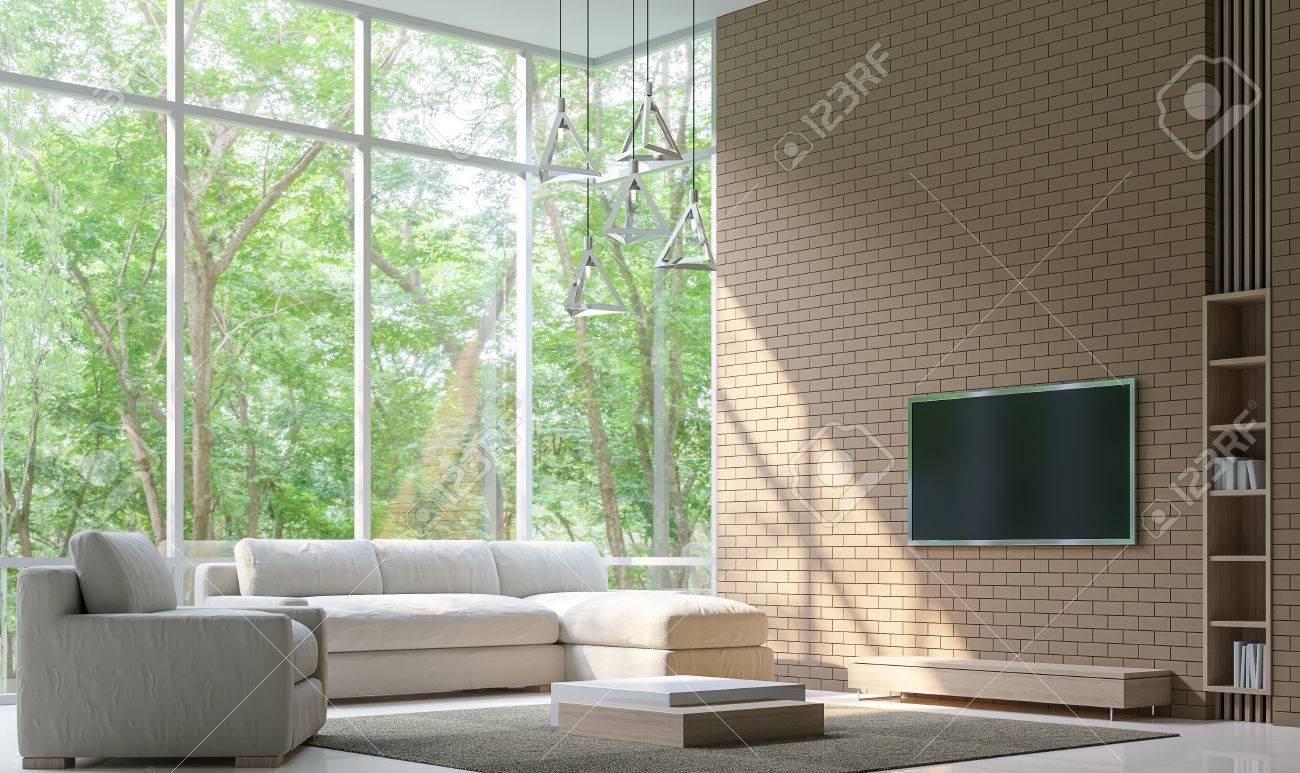 Perfekt Moderne Wohnzimmer Dekorieren Wand Mit Ziegelstein 3D Rendering Image. Minimalist Stil Weißen Boden Schmücken Wand Mit Ziegelsteinmuster, Grund  Einfach Hell ...