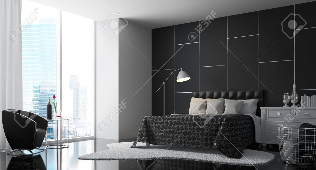 Camera da letto moderna con immagine di rendering 3d in bianco e nero. Ci  sono un muro nero, pavimento, mobili e ripiano bianco, tappeto Ci sono ...