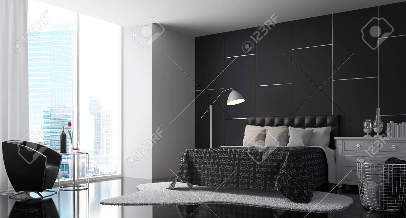 Chambre Moderne Avec Noir Et Blanc 3d Rendent Des Image.There Sont Un Mur  Noir, Sol, Meubles Et étagères Blanc, Tapis Il Y A De Grandes Fenêtres  Donnant à ...