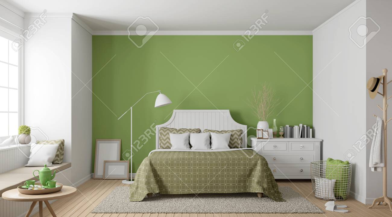 Modern vintage bedroom 3d rendering image there are wood floor decorate wall with green paint