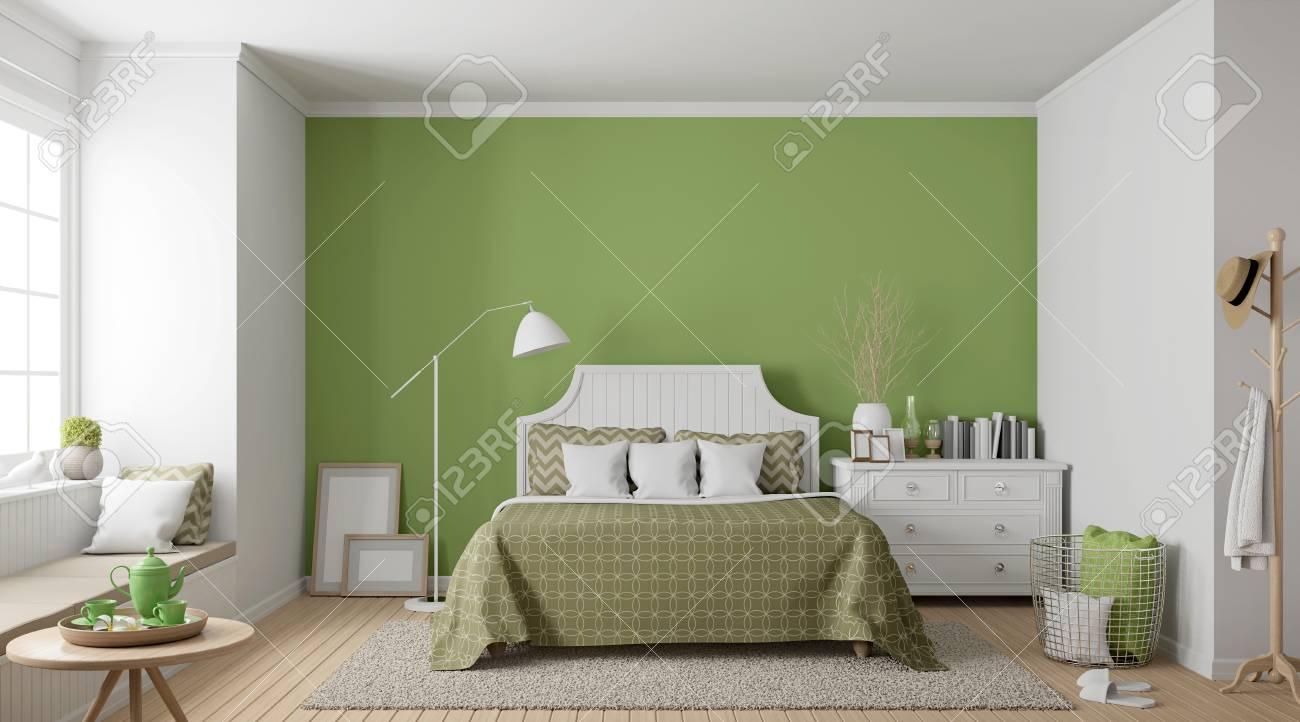 Modernes Weinlese Schlafzimmer 3d Das Bild Ubertragt Es Gibt