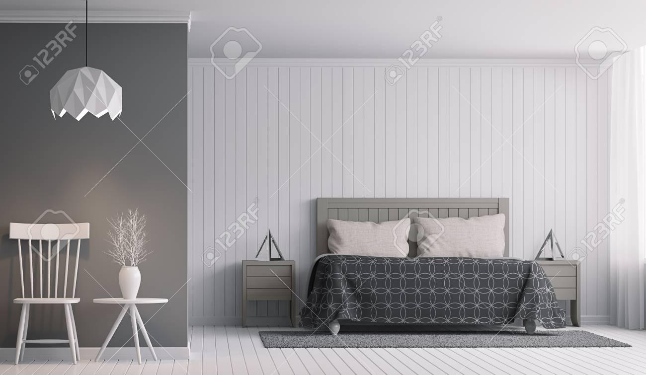 Intérieur De La Chambre à Coucher Moderne Avec Rendu 3d En Noir Et Blanc Il Y A Un Mur De Décoration Avec Du Bois Blanc Et De La Peinture Murale Vide