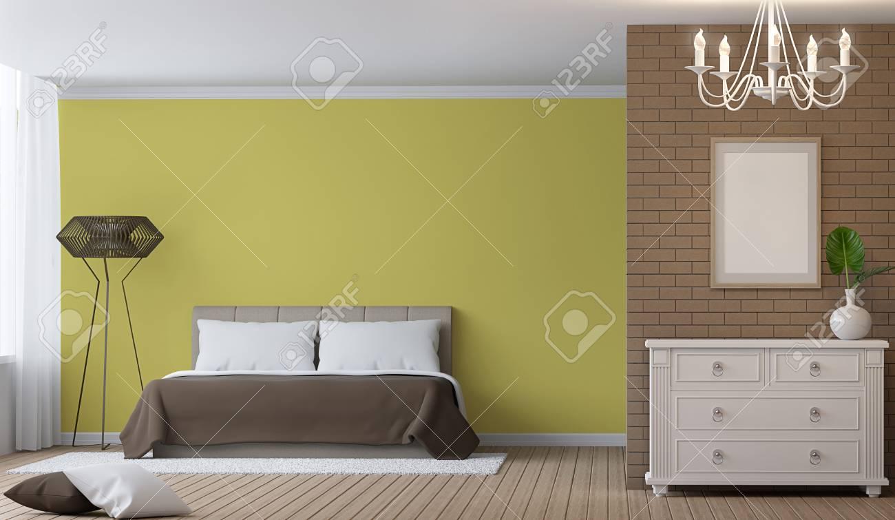 Image de rendu 3d de chambre à coucher moderne dintérieur il y a décorer le mur avec le modèle de brique et la peinture de mur vide avec la couleur jaune