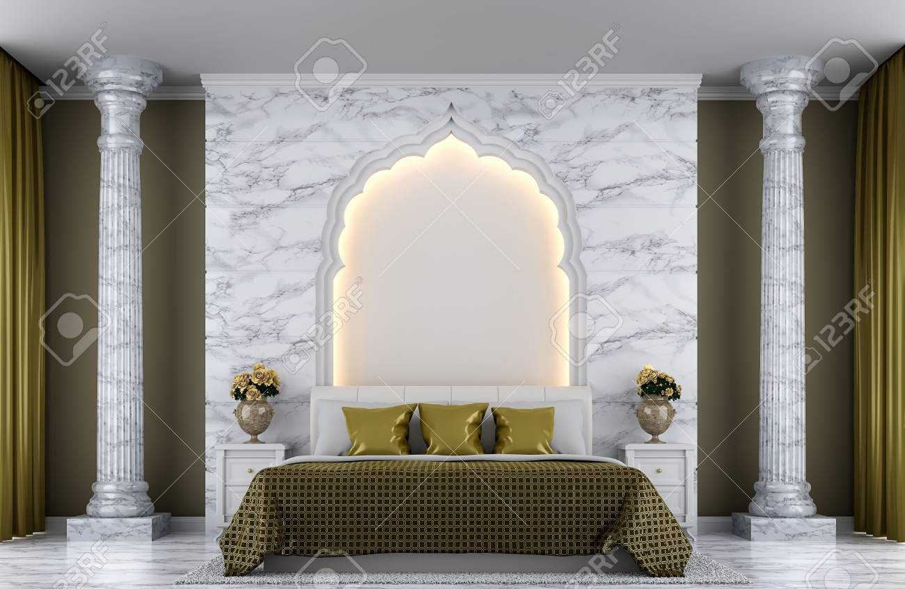 Luxury Bedroom 3d Rendering Image There Are Decorated With Arches Stock Photo Picture And Royalty Free Image Image 68386461