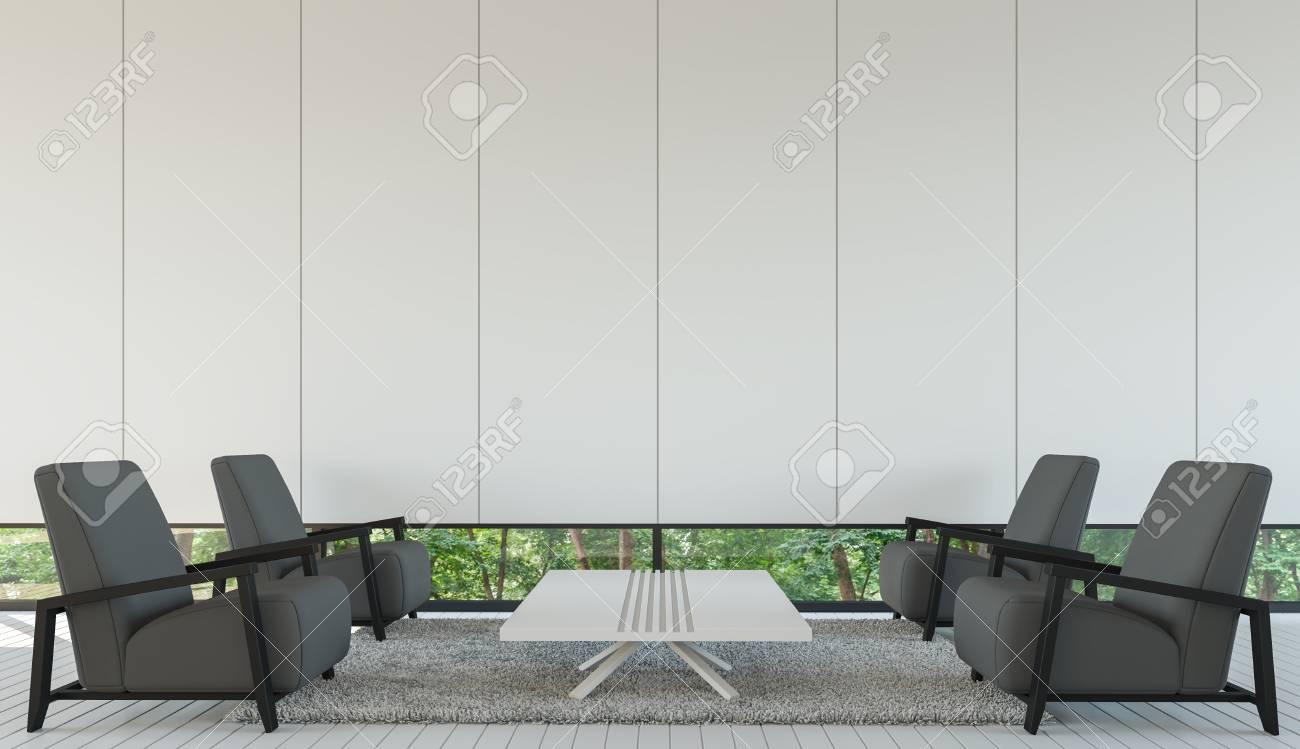 Intérieur salon moderne style minimaliste avec un rendu 3D en noir et blanc  image.Decorate gris foncé avec ses meubles sont des fenêtres donnant sur ...
