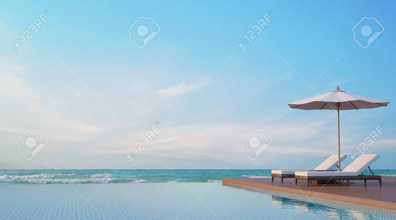 Pool Terrace With Sea View 3d Rendering Image,A Place Surrounded By The Sea  ,