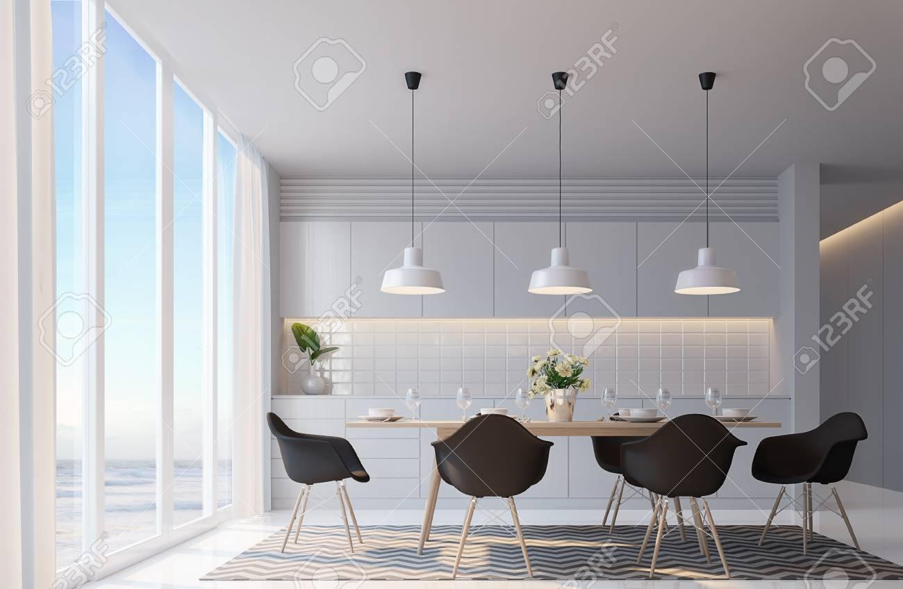 Comedor Blanco Moderno Con Imagen De Representación 3d De Vista Mar ...