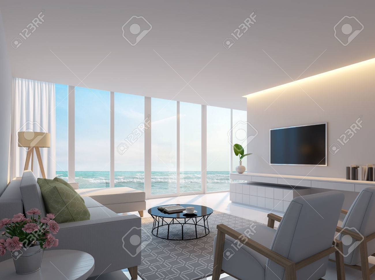 Modern White Living Room With Sea View 3d Rendering Image Decorate Stock Photo Picture And Royalty Free Image Image 72758541