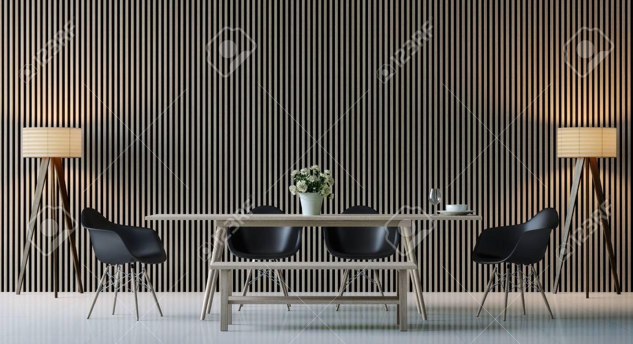 Imagen interior moderna de la representación 3d del comedor moderno. Hay  adornan la pared con el modelo de madera vertical, la silla negra y la ...