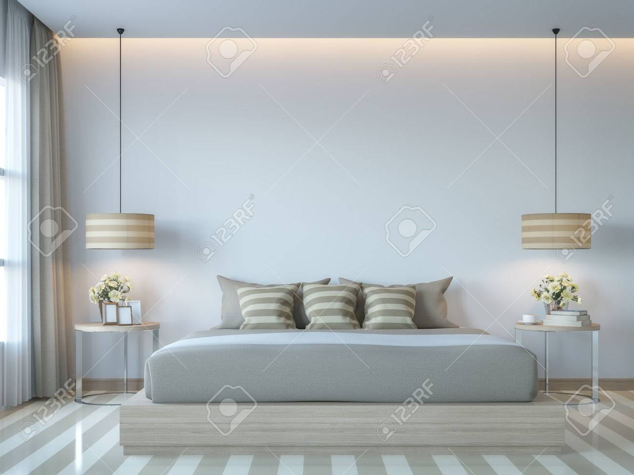 Modern White Bedroom Minimal Style 3d Rendering Image There White