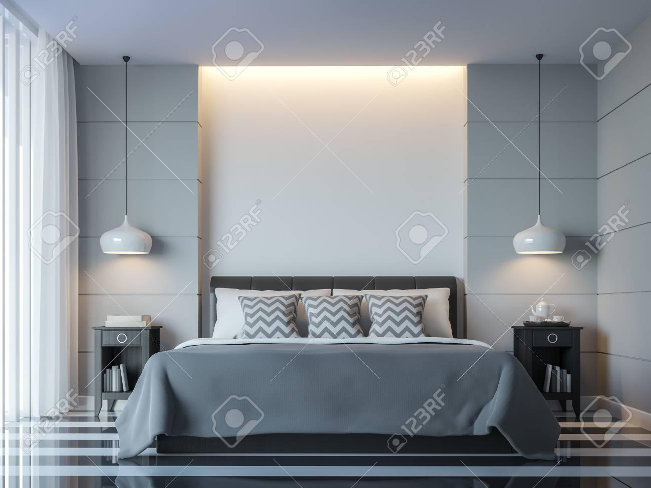 Chambre A Coucher Blanche Moderne Style Minimal Rendu 3d Image