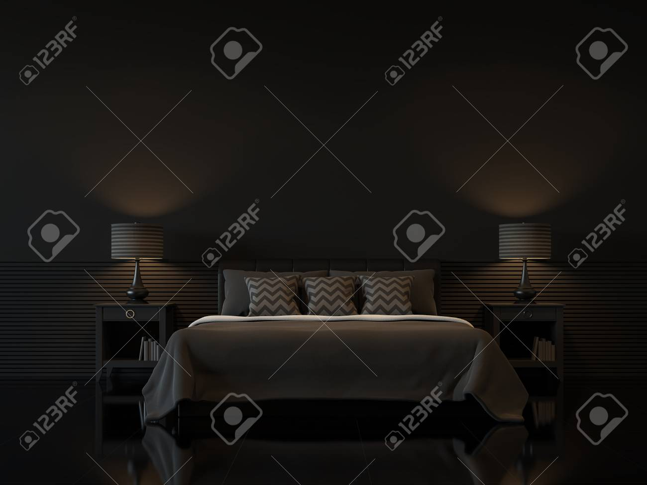 Modern bedroom interior with empty black wall 3d rendering image.There are minimalist style decorate room with black furniture,floor,wall - 73581215