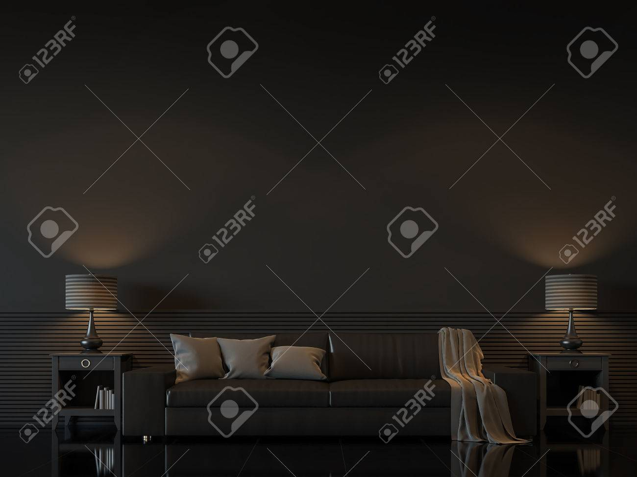 Modern living room interior with empty black wall 3d rendering image.There are minimalist style decorate room with black furniture,floor,wall - 73535794